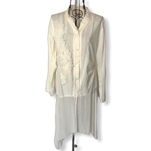 April Cornell Long Boho Tunic Button Ruffle Blouse